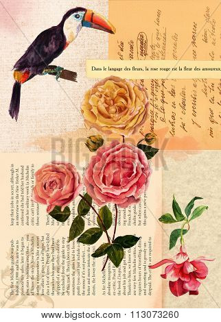 Vintage style postcard design or background template