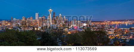 Panorama Of Seattle Downtown Skyline And Mt. Rainier At Night, Washington