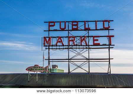 Pike Place Fish Market Sign In Downtown Seattle
