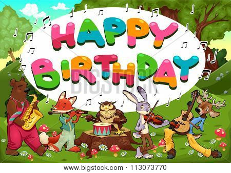 Happy Birthday card with funny musician animals. Vector cartoon illustration