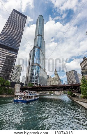 Chicago Taxi boat in Chicago river on June 01 2014. Taxi boat is an alternative way to view Chicago