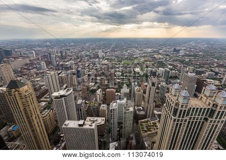Aerial View Of Chicago Skyline, Il