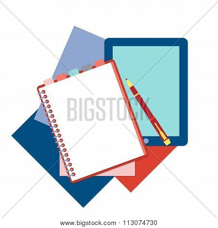 Flat design notepad, pen, tablet and color sheets of paper