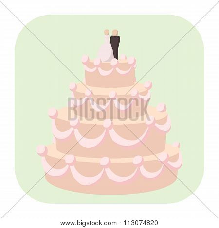 Wedding cake cartoon icon