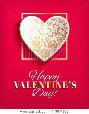 Valentines day card with paper heart shape. Vector illustration.
