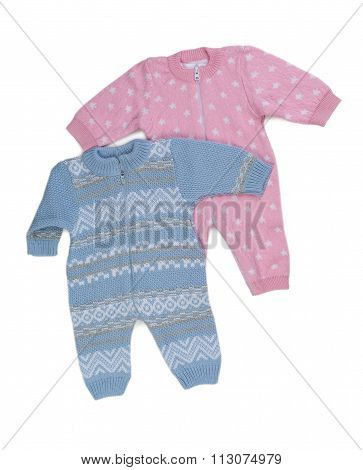 Two Knitted Pink And Blue Rompers.