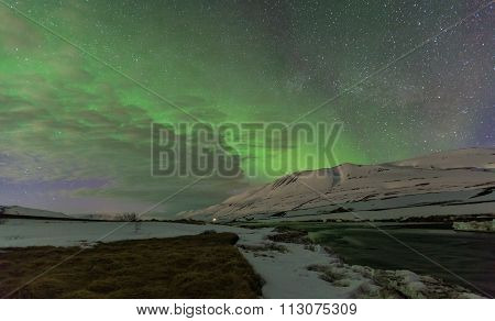 Aurora Borealis In Remote Area Of Iceland.