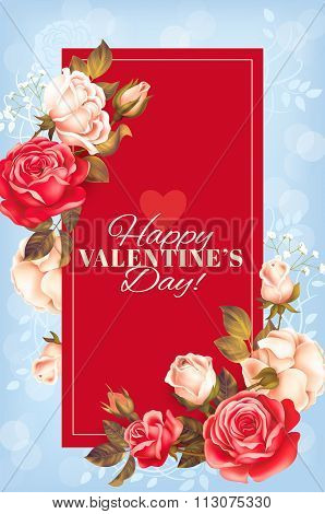 Romantic Valentine card with roses. Vector illustration.