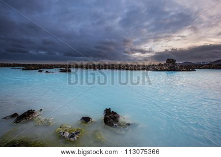 Geothermal Pool In Blue Lagoon In Iceland.