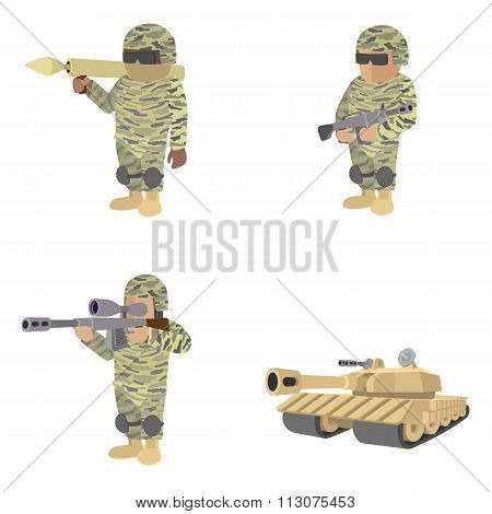 Set of soldiers cartoon icons