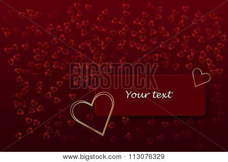 Golden heart frame on the red rectangle