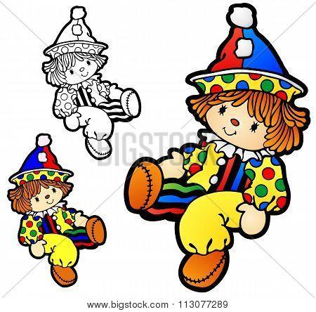Boy ragdoll with clown costume