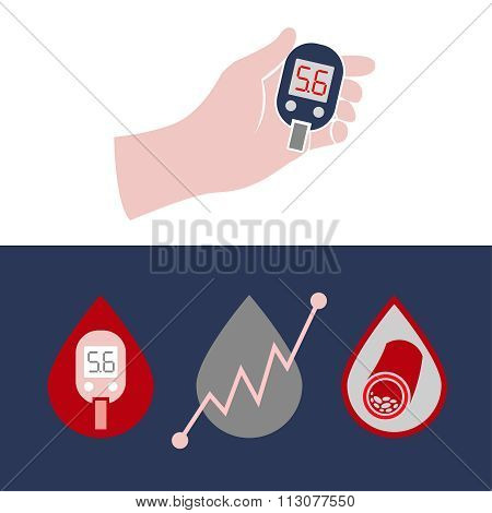 Diabetes Glucometer Icons 04 A