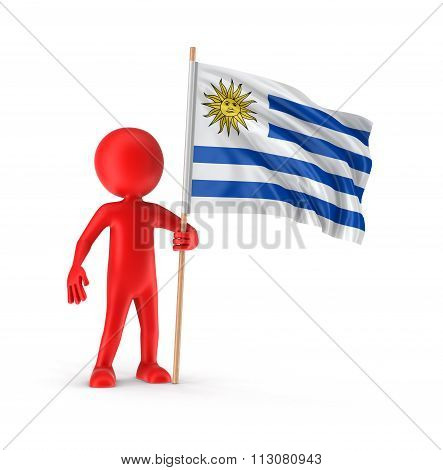 Man and Uruguayan flag. Image with clipping path