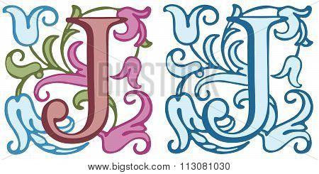 Vintage initials letter J.