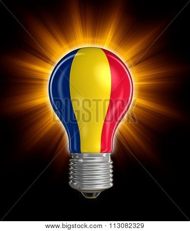 Light bulb with Romanian flag.  Image with clipping path