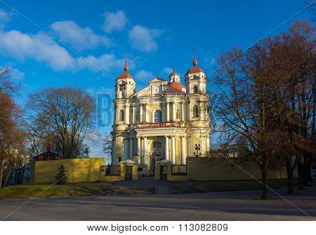 VILNIUS, LITHUANIA - DECEMBER 15, 2015: St Peter and St Paul's church at day time on December 15, 2015 in Vilnius, Lithuania