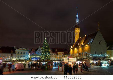 TALLIN, ESTONIA - DECEMBER 25, 2015: City hall square at Christmas on December 25, 2015 in Tallin, Estonia