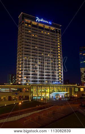 VILNIUS, LITHUANIA - DECEMBER 15, 2015: Radisson Blu hotel at night on December 15, 2015 in Vilnius, Lithuania