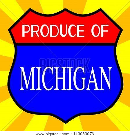 Produce Of Michigan Shield