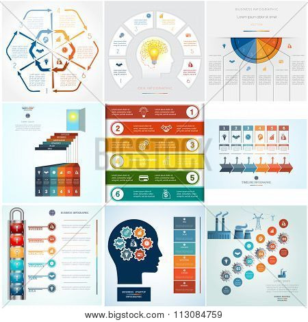 Set Nine Templates Infographics