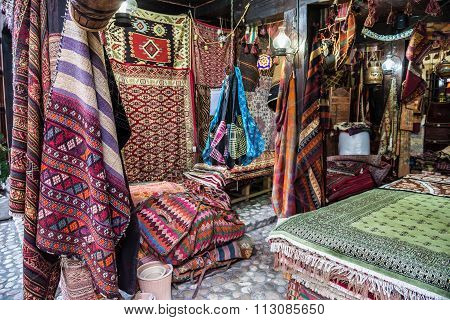 Sarajevo, Bosnia and Herzegovina - August 24, 2015: Carpets shop in Sarajevo in Bosnia and Herzegovina