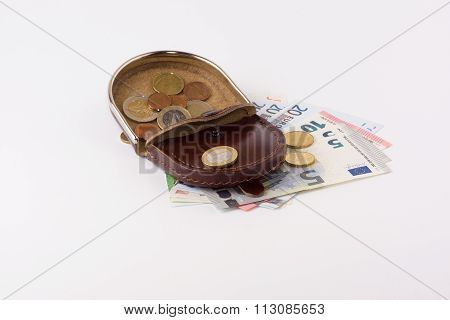 Purse With Coins And Banknotes