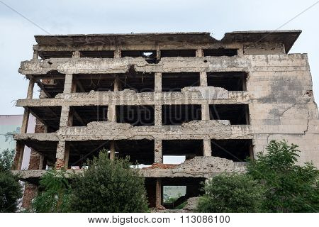 Destroyed Building In Mostar