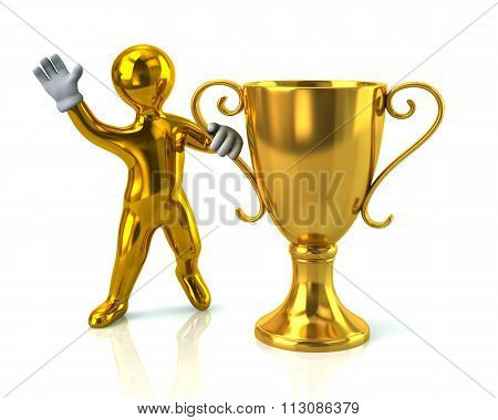 Golden Man And Gold Cup Of The Winner