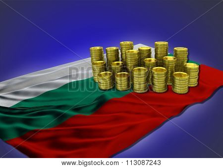 Bulgarian economy concept with national flag and golden coins
