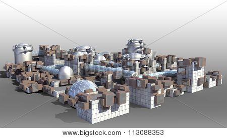 Futuristic architectural city