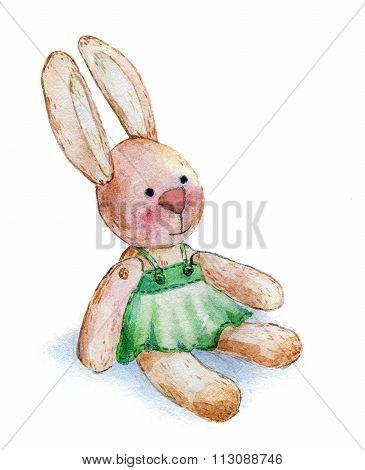 rabbit girl plush toy watercolor aquarelle paper