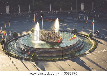 Aerial View Of Cibeles Fountain At Plaza De Cibeles In Madrid In A Beautiful Summer Day, Spain