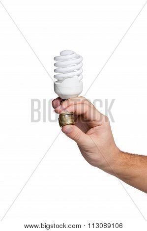 Energy saving lamp in male hand
