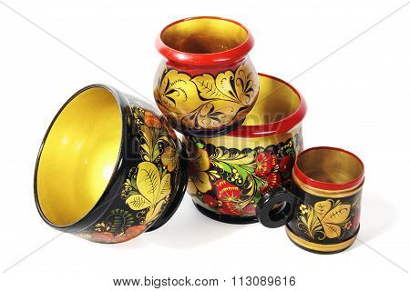 Wooden dishes, painted in the style of Khokhloma
