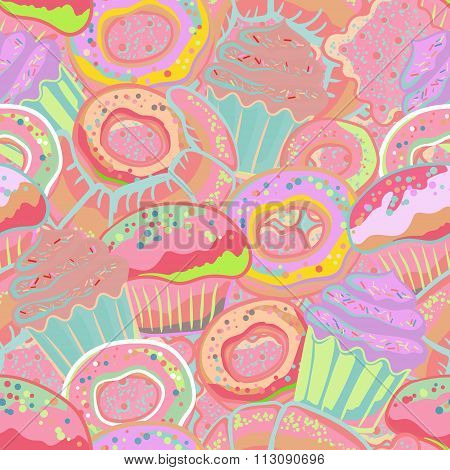 Pastry hand drawn seamless pattern. Doodle collection confections. Colorful background with donuts, cupcake, dessert, croissant, bagel