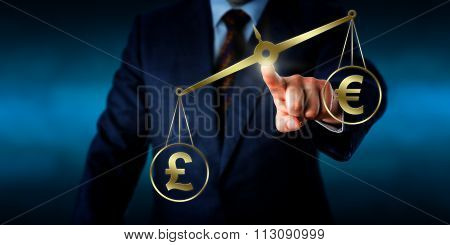 British Pound Sterling Outweighing The Euro Sign