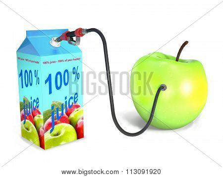 Apple, Package, Hose, Valve On White Background.