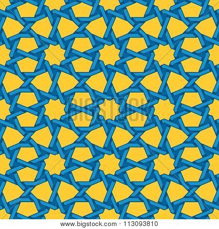 Vector Seamless Blue Yellow Islamic Interlacing Line Star Geometric Pattern