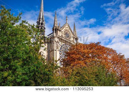 The front of Notre Dame Paris, France
