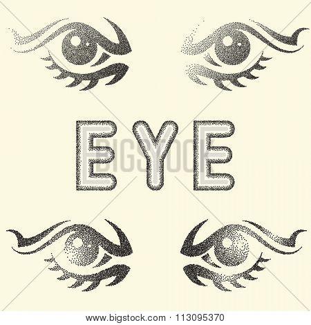 Humen Eye Stipple Effect Raster Illustration