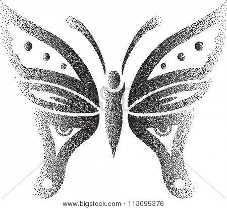 Butterfly Stipple Effect Raster Illustration