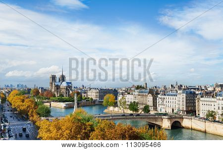 Notre Dame cathedral and River Seine in Paris