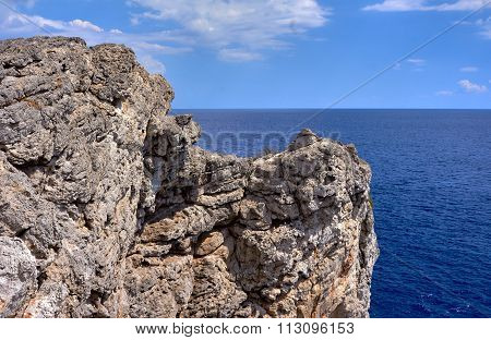 rocky cliff on the seacoast island of Rhode