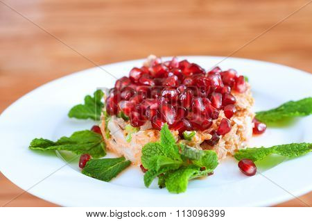 Fresh Summer Salad With Pomegranate, Tuna Fish, Carrots And Mint
