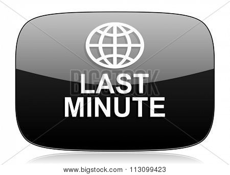 last minute black glossy web modern icon