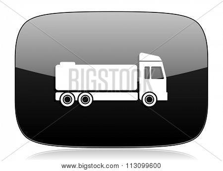 truck black glossy web modern icon