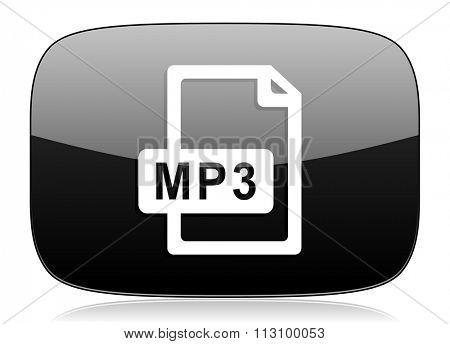 mp3 file black glossy web modern icon