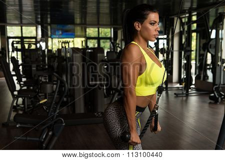 Mexican Woman Doing Exercise For Triceps