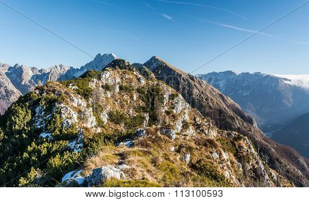 Mountain ridge with grassy slopes
